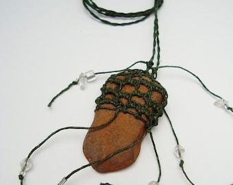 Colorado Red Rock Necklace, Smooth Rustic Stone Necklace, Orange, Brown, Deep Green ST4