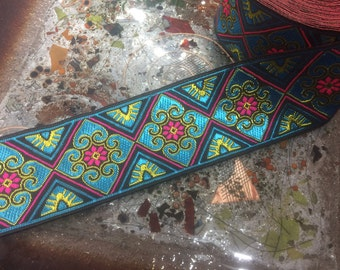 Teal, Blue & Fuchsia - Geometric Embroidered Jacquard Ribbon - 5 cm Wide, Imported