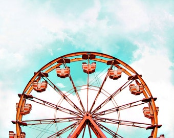 Ferris Wheel Print, Ferris Wheel Photo, Ferris Wheel Picture, Carnival Print, Nursery Decor, Amusement Park Print, Playroom Decor, Whimsical
