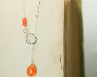 Carnelian Lariat Necklace - Sterling Silver Crystal Genuine Gemstone Orange Teardrop - Grounding, Passion, Courage, Success