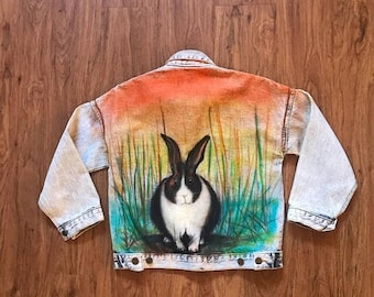 SHOP SALE Vintage 90s Light Denim Air Brushed Bunny Jacket M