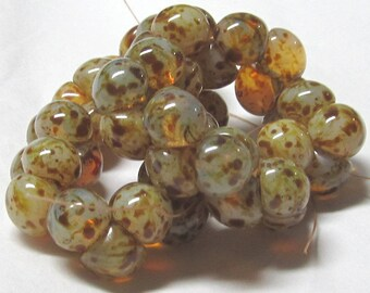 Czech Glass Beads 9 X 8mm Smooth Shiny Brown and Carmel Horn Rim Buttons - 30 Pieces