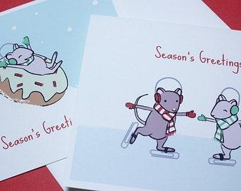 Mouse christmas card set ice skating mice holiday cards mouse christmas cards cute holiday card set of 6 m4hsunfo