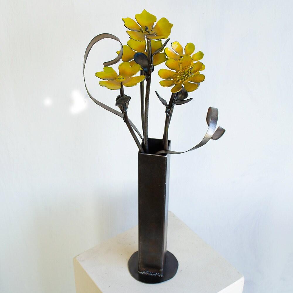 Flower vase sculpture yellow wild flower art metal vase zoom reviewsmspy