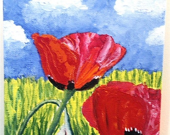 Red Poppies Bud Blue Sky-Original Acrylic- Cynthia Van Horne Ehrlich-Home Decor-Gift