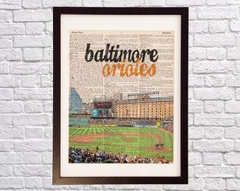 Baltimore Orioles Dictionary Art Print - Camden Yards Art - Baltimore Maryland Print - Print on Vintage Dictionary Paper - Baseball Art