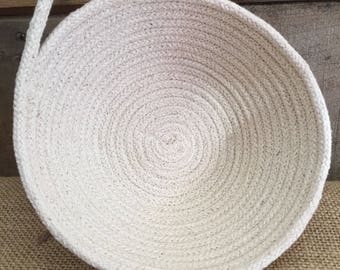 Natural Coiled Rope Basket with Handle
