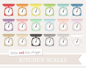 Kitchen Scale Clipart, Food Scale Clip Art Baking Kitchen Bakery Cooking Measuring Weight Cute Digital Graphic Design Small Commercial Use