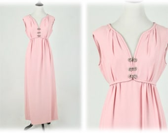 1960s Pink Column Formal Long Dress Rhinestones by Sandine Originals New York