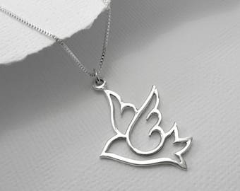 Dove Necklace, Bird Necklace, Peace Necklace, Dove Necklace Silver, Bird Necklace Silver,  Bird Necklace Sterling Silver, Gift for Mom