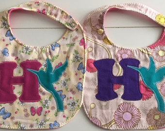H is for Hummingbird Bib -  Hand Appliquéd