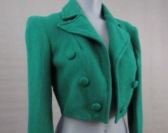 Womens or Girls Cropped Jacket Bolero Blazer Vintage 1960s Irish Green Wool Size Small Military Coat School Girl Wizard of Oz Costume