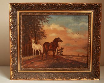 Antique Painting in Oil Wood Frame, home decor, Two Horses, Mid  Century- Free shipping