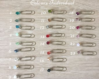 Set of Three - Paperclips for your Travelers Notebook with Swarovski Elements