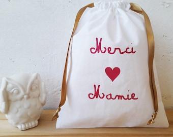 Gift Granny - Bag pouch 22.5 x 18 cm - white fabric / thank you Grandma