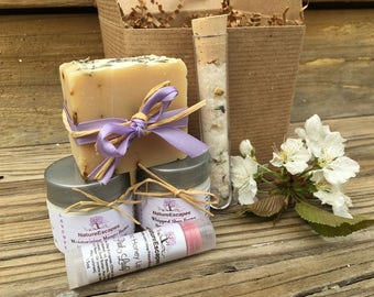 Birthday Spa Gift Set, Gift Bath Set for Her, Lavender Soap Gift Set with Soap, Lotion, Sugar Body Scrub, Bath Salts and Lip Balm