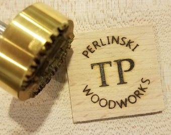 "1.5"" Round Custom Text w/Initials Branding Iron"