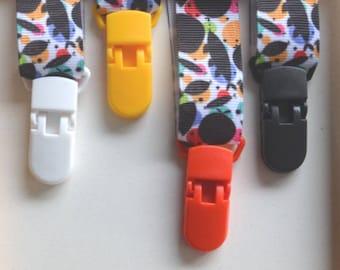 Clip attachment plastic pacifier/strap - warm tones