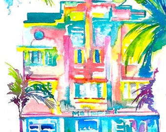 Art Deco Miami Print from  Watercolor, Modern Home Decor, Colorful Abstract Wanderlust, Miami Art Deco Illustration by Lana Moes