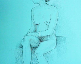 Turquoise Seated Nude (an original pencil drawing)