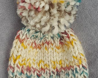 new born   baby   toddler   child   knitted hat for boys or girls   hand knitted beanie   pom pom hat   knitted winter hat with pom pom