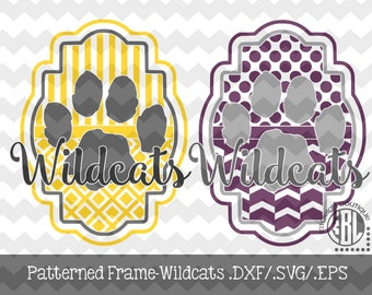 Wildcat Patterned Frame design INSTANT DOWNLOAD in dxf/svg/eps for use with programs such as Silhouette Studio and Cricut Design Space