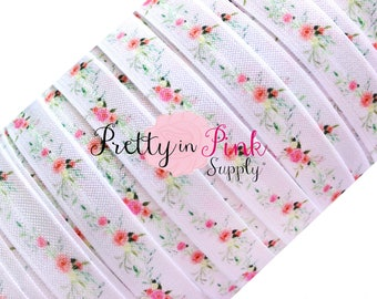 "Floral Swag Print Fold Over Elastic- FOE-You Choose Yards-Fold over Print Elastic- Elastic by the Yard- 5/8"" Fold Over Elastic"