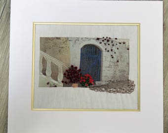 Streets of Greece , fiber art, wall hanging, hand embroidery,  mixed media embroidery art, fabric art