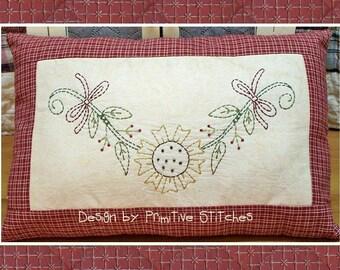 Sonnenblumen Girlande-Primitive Stickerei-Muster-E-Muster-von primitiven Stiche-Instand-Download