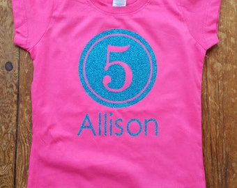 Personalized birthday shirt for girls, birthday girls shirt, name and number birthday shirt, sparkly glitter birthday girls fitted shirt