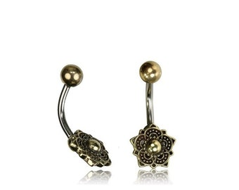 Lotus Belly Bar, Brass Belly Button Ring, Belly Ring, Belly Piercing, Body Piercing,Surgical Steel, Gypsy Piercing, Boho Jewelry, Yoga