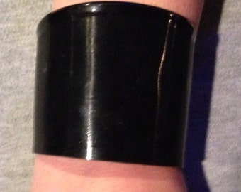 Upcycled Vinyl Record Cuff Bracelet Black Reclaimed