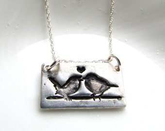 Silver Birds Necklace - Kissing Love Birds Necklace - Artisan Silver Jewellery