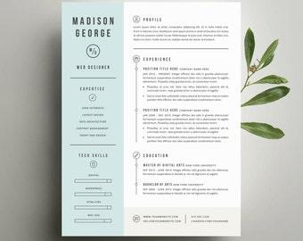 modern resume template etsy thevillas co