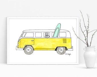 Yellow VW Van, original watercolor illustration, vintage car, car illustration, beach decor, yellow, coastal decor, fine art, original art
