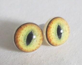 1 Pair Cat Eyes, Yellow Realistic Eyes 11 mm, Taxidermy Eyes, Animal Eyes, Craft Eyes