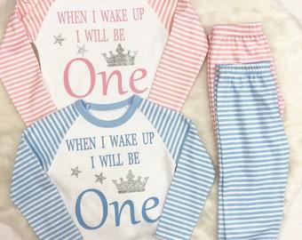 Birthday  stripes pyjamas with ages 1,2,3,4,5,