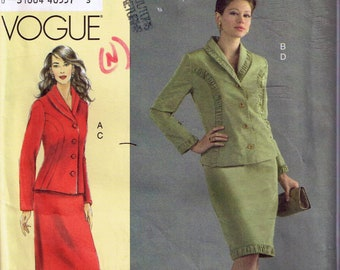 Size 24-30 Misses Plus Size Suit Sewing Pattern - Shawl Collar Princess Seam Jacket Pattern - Knee Length Straight Skirt - Vogue V8204