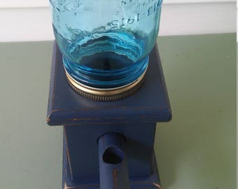 A Vintage Wood Bubble Gum/Candy/Peanut Dispenser, Up-Cycled n Lonestar blue