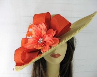 Tan Orange Jeweled Flower Kentucky Derby Church Dressy Straw Hat