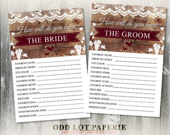 Rustic Bridal Shower Game - How well do you know the bride and groom - Vineyard, Wine Tasting - INSTANT DOWNLOAD - Wedding Games Printable