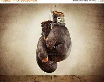 FLASH SALE til MIDNIGHT Vintage Boxing Gloves Photo Print , Fathers Day Gifts, Wall Decor, Wall Art,  Kids Room, Nursery Ideas, Gift Ideas,
