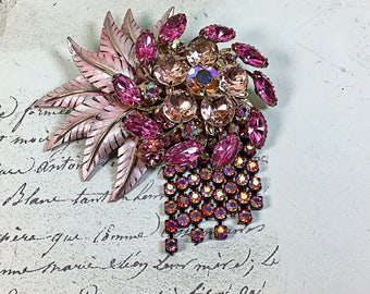 Vintage Collage Brooch pin flower garden  pink  rhinestone chain floral upcycled Rosemarie