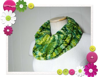 Knit Tube Infinity Scarf  ~OOAK Hand Spun Varigated Green Thick and Thin Yarn - Loop Scarf - Merino Wool Infinity Scarf