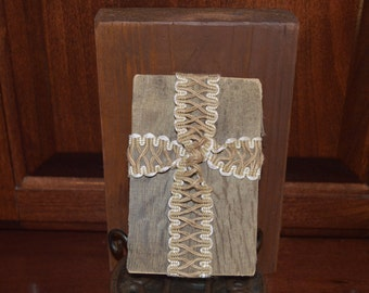 HE Makes ALL Things Beautiful - Repurposed Crochet Lace Ribbon Cross on Aged Pallet Piece