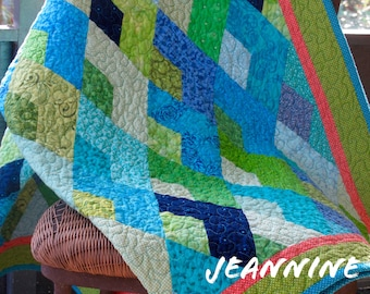 Bright Blue Boomerang Quilt