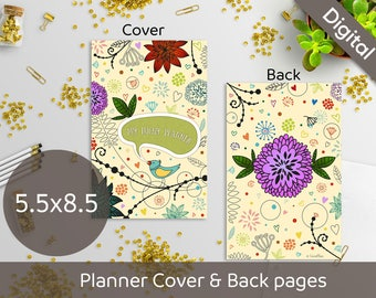 5.5 x 8.5 Planner Cover Printable, Front and Back pages, Half Size printable cover, Syasia Cute Floral DIY Planner PDF Instant Download