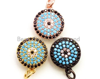 CZ Micro Pave 13mm Turquoise Evil Eye Round Coin Charm, Cubic Zirconia Pendant, CZ Dangle Charms, Silver/Rose Gold/Gold/Black Tone, sku#F34