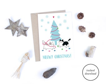 Printable Christmas Cards, Meowy Christmas Card, Mid Century Modern Christmas Card, Quirky Cat Card Download, Cats Christmas Tree Card