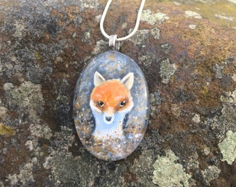 Fox painted pendant. Handmade.Fox lovers.Fox jewellery.